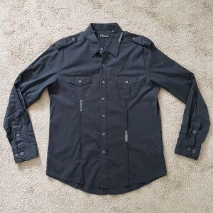 Men's 7 Dimonds Black Casual Button Down Shirt M M
